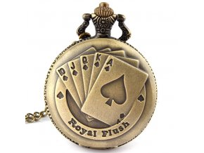 Flush Poker Pattern Necklace font b Watch b font font b Vintage b font Style Bronze