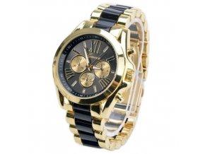 Geneva dámske náramkové hodinky čierno-zlaté