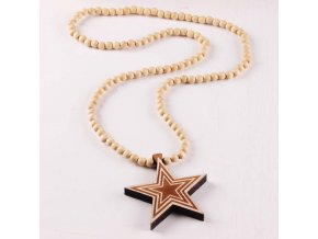 Good Quality Fashion Jewelry Star Pendant Wooden Rosary Beaded Chain Necklaces
