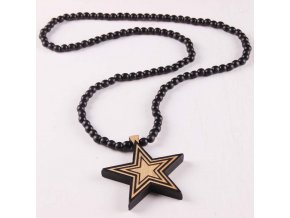 Good Quality Fashion Jewelry Star Pendant Wooden Rosary Beaded Chain Necklaces (1)