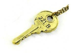 Náhrdelník Sherlock - Kľúč 221B zlatý