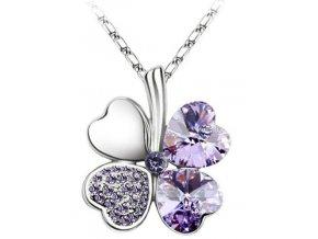 Štvorlístok náhrdelník fialový