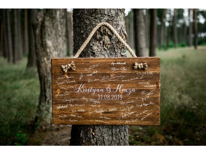 Dřevěný obraz na podpisy #boho