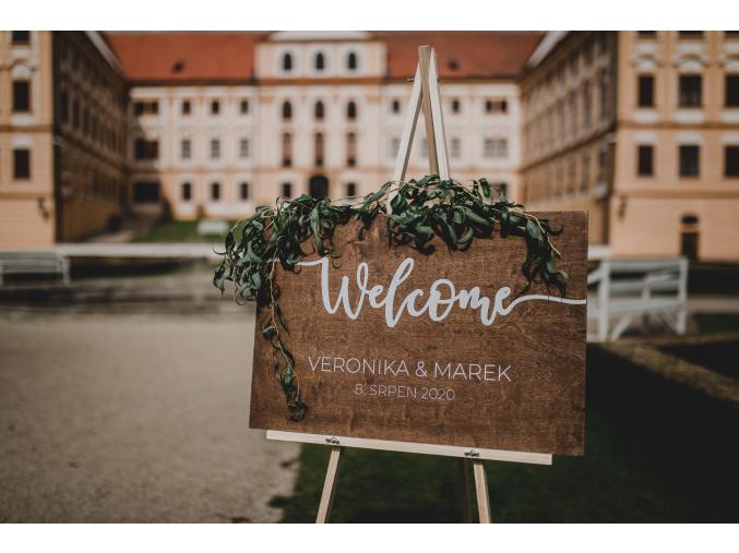 Svatební uvítací deska #welcome