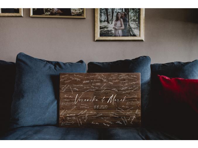 Dřevěný obraz na podpisy #elegant  Elegantní obraz na podpisy s motivem prodloužených jmen.