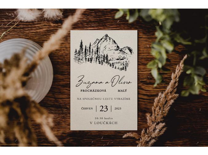 Svatební oznámení #6  Stylové oznámení s elegantním motivem.