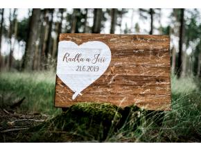 Dřevěný obraz na podpisy #srdce