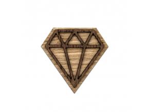 Diamond brooch  Naše brože vyrábíme zrůzných druhů dřeva, které ksobě navzájem ladí. Jejím unikátním zpracováním dokonale oživíte celý Váš outfit.