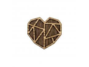 Heart brooch  Naše brože vyrábíme zrůzných druhů dřeva, které ksobě navzájem ladí. Jejím unikátním zpracováním dokonale oživíte celý Váš outfit.