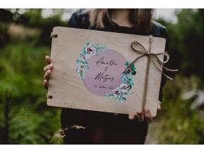 Svatební fotoalbum #botanical-roses  Dřevěné fotoalbum s květinovým vzorem s růžemi.