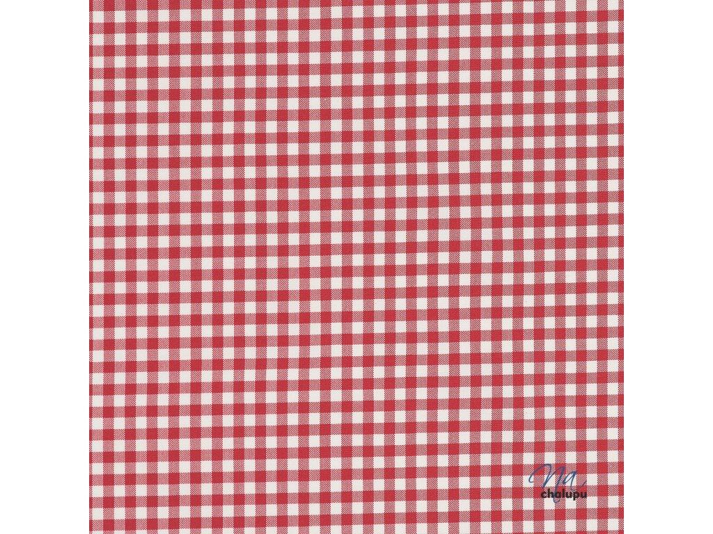 Kanafas bavlna cervene karo kostky 5x5mm