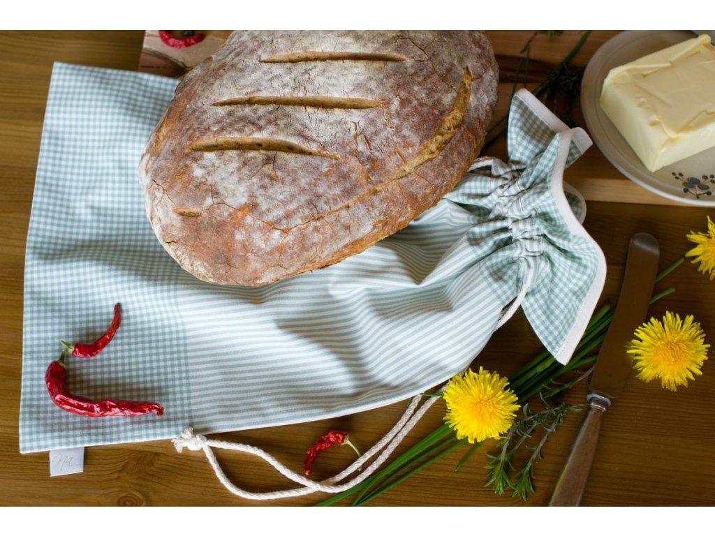 sacek pytlik na chleb kanafas zelena kostka prouzek DSC 0083