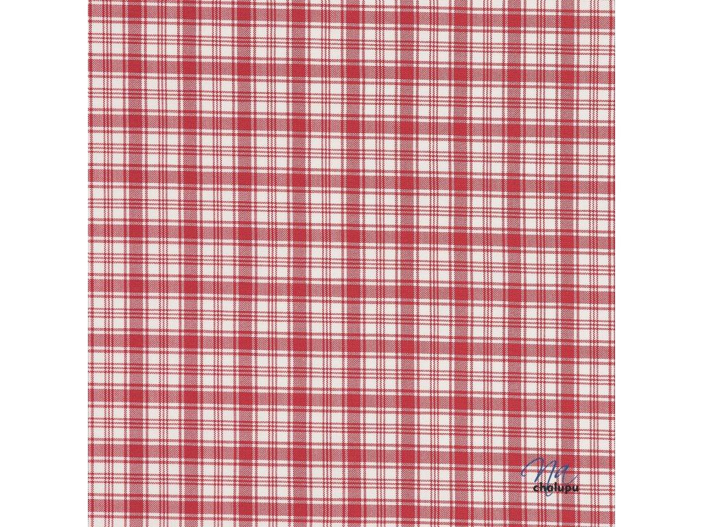 Kanafas bavlna cervene karo kostky kombinovane