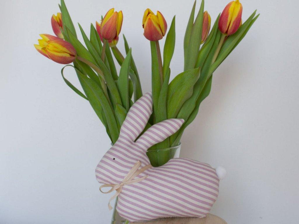 zajic jarni dekorace ruzovy kanafas prouzky 3mm DSC 0405