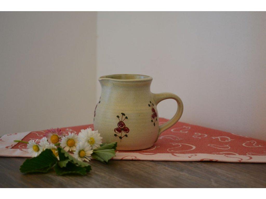 mlekovka konvicka na mleko kreamika Cervenka