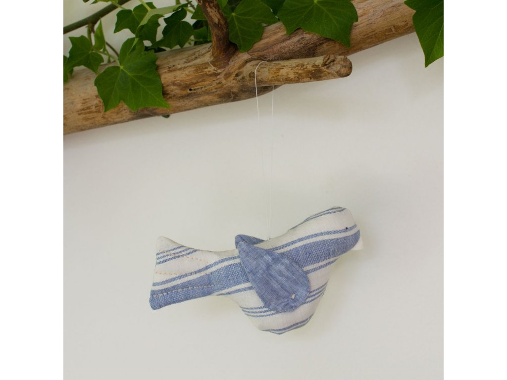 Ptáčci modří lnění - šitá dekorace