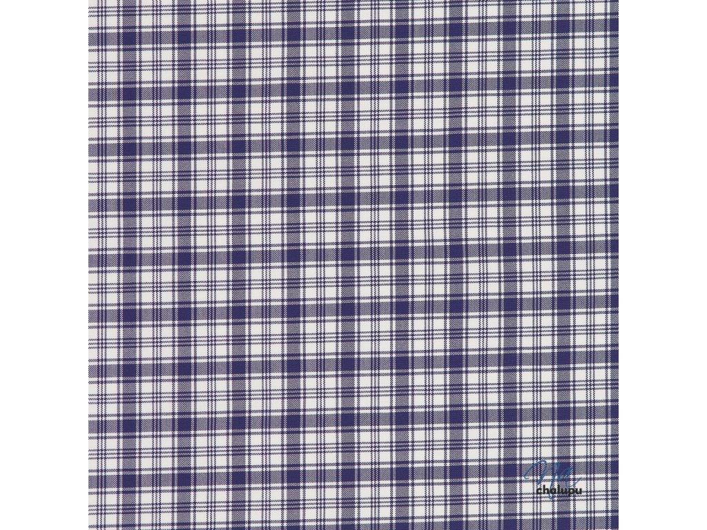 Kanafas bavlna modre karo kostky kombinovane