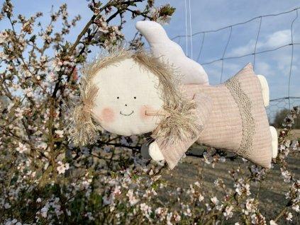 Lněná andělka růžová letící Rose Tan