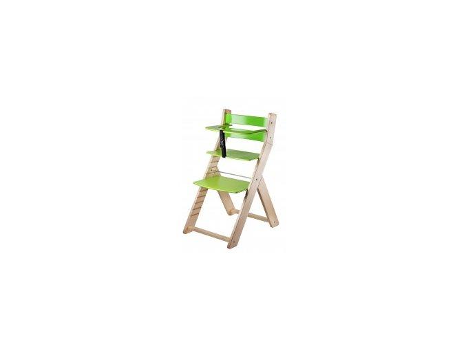Rostoucí židle Luca -L02 natur lak/zelená s ergonomickým sedákem
