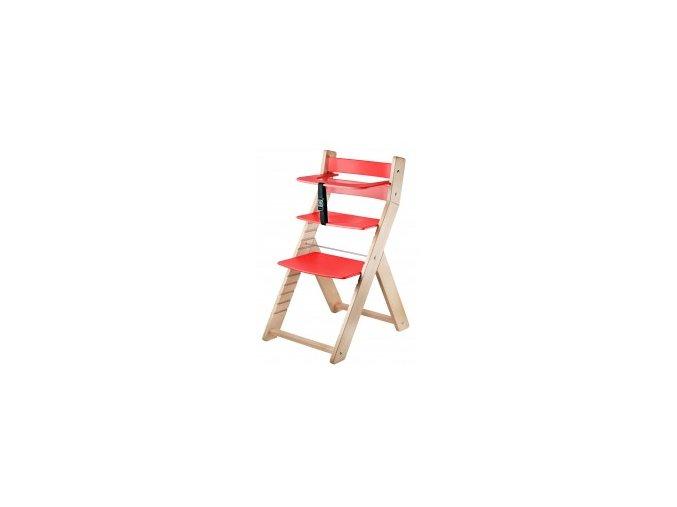 Rostoucí židle Luca -L04 natur lak/červená s ergonomickým sedákem