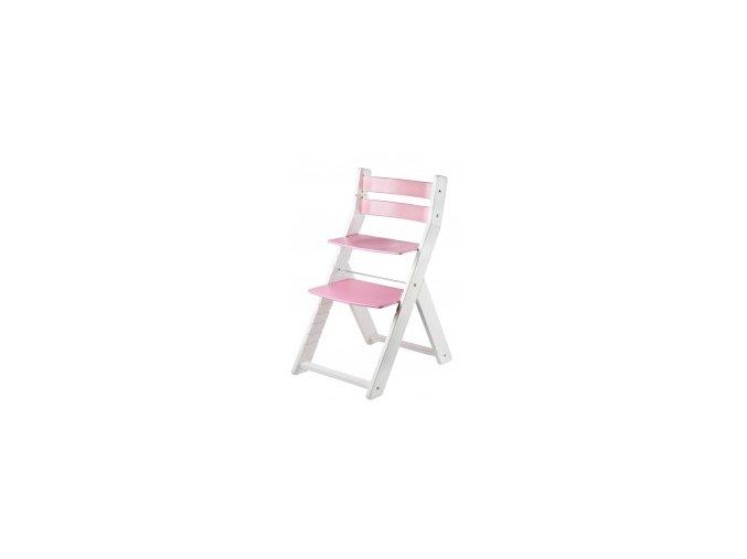 Rostoucí židle SANDY KOMBI -M01 bílá/růžová s ergonomickým sedákem