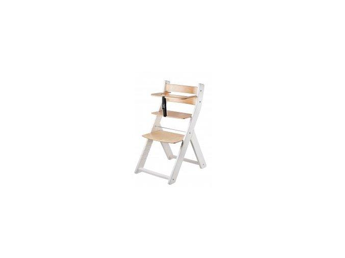 Rostoucí židle Luca kombi -001 bílá/natur lak s ergonomickým sedákem