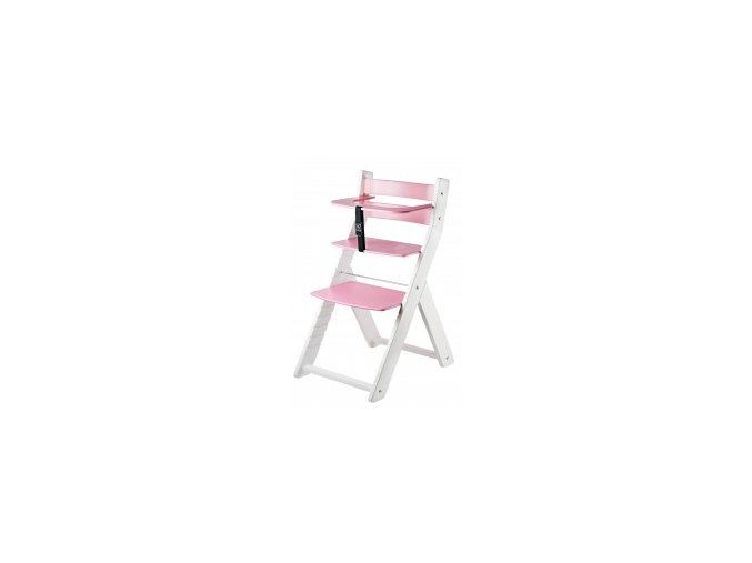 Rostoucí židle Luca kombi -L01 bílá/růžová s ergonomickým sedákem