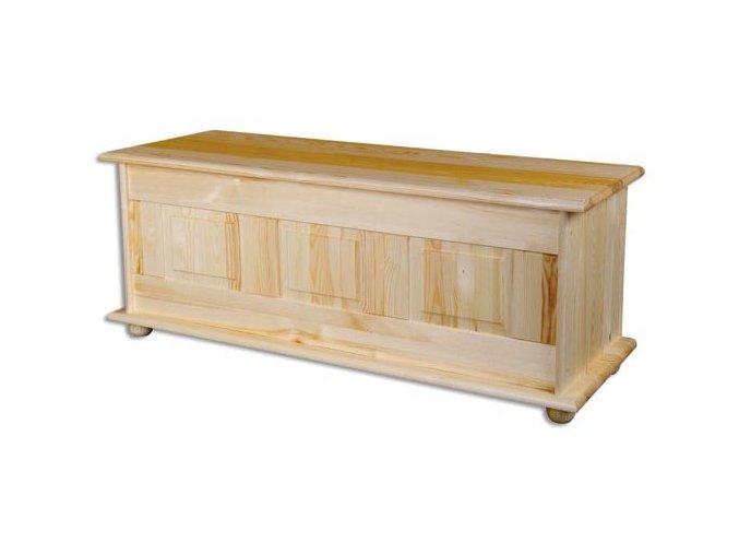 Dřevěná truhla-peřiňák BM103 borovice masiv šířka 125 cm
