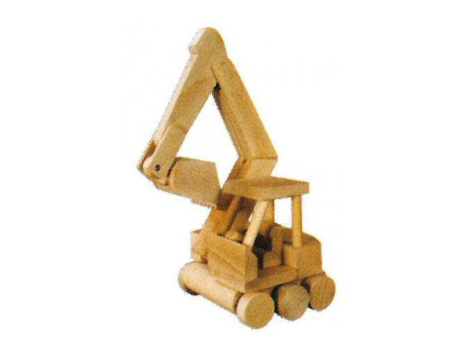 Dřevěná hračka -bagr na kolečkách D115
