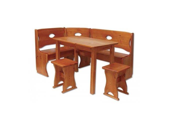 Dřevěný jídelní set s rohovou lavicí MASIV BM104 z borovice