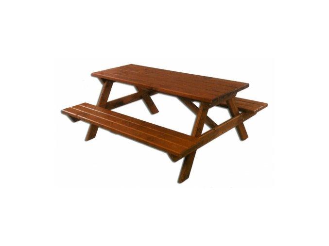 Dřevěný zahradní set 106 -stůl + 2 lavice TIK