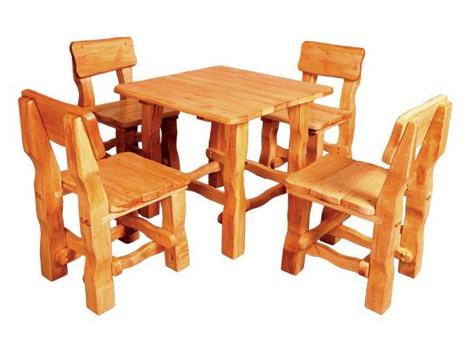 Zahradní set z masivního olšového dřeva 213 stůl+4 židle PŘÍRODNÍ