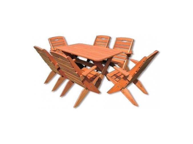 Dřevený zahradní set 109 - stůl + 6 židlí TIK