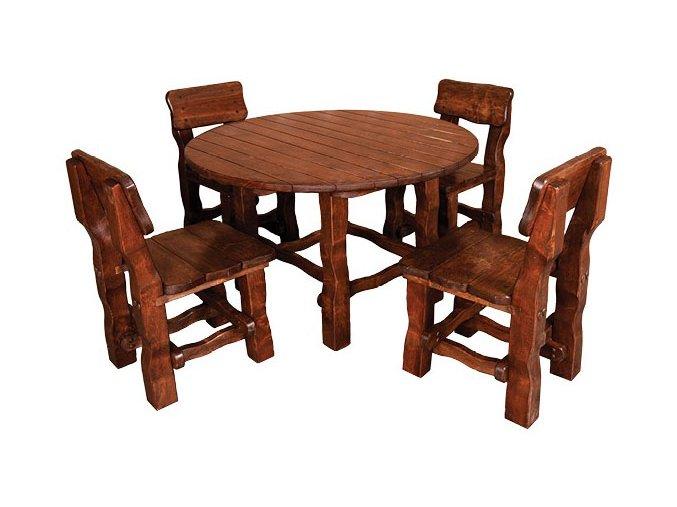 Zahradní set z masivního olšového dřeva 210 stůl+4 židle OŘECH