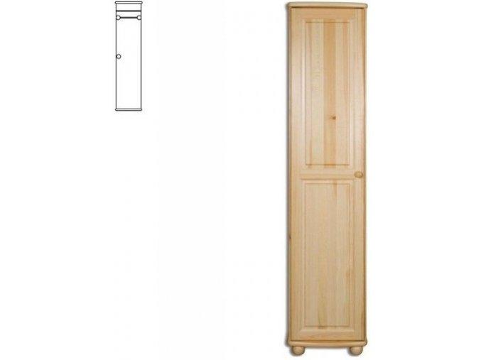 Úzká dřevěná šatní skřín MASIV 112 z borovice
