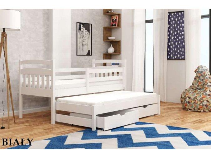 Dřevěná postel MARCIN s úložným prostorem a výsuvným lůžkem 90x200cm