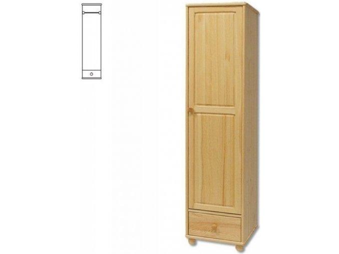 Úzká dřevěná šatní skřín se šuplíkem MASIV 124 z borovice