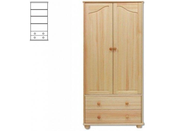 Dřevěná šatní skřín -2 zásuvky MASIV 114  z borovice