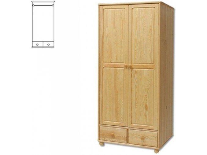 Dřevěná šatní skřín se zásuvkami MASIV 122 z borovice