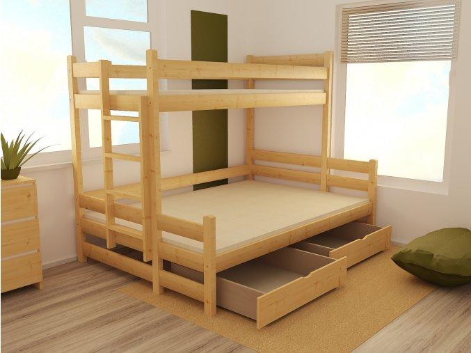 Patrová postel s rozšířeným spodním lůžkem PPS 003 80/140 x 200 cm