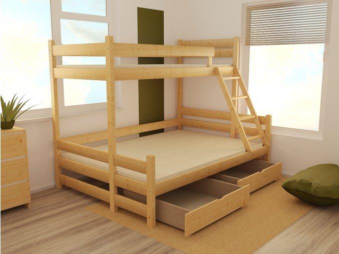 Patrová postel s rozšířeným spodním lůžkem PPS 004 80/140 x 200 cm
