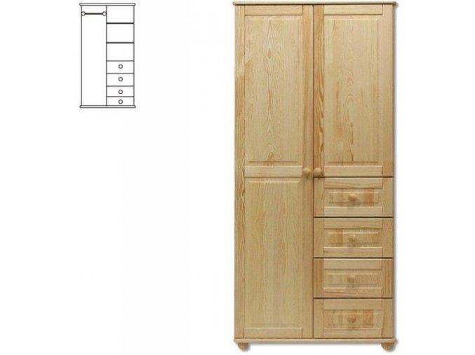 Dřevěná šatní skřín MASIV 109 z  borovice