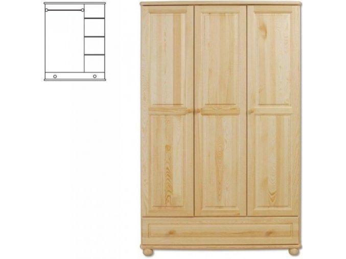 Dřevěná šatní skřín se šuplíkem MASIV 106 z  borovice