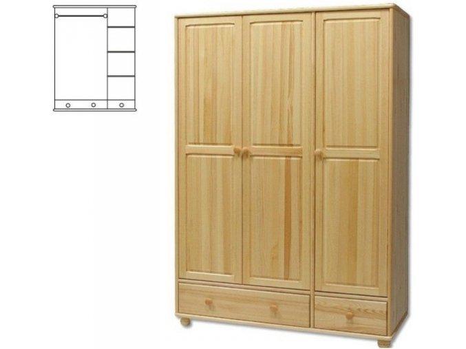 Dřevěná šatní skřín MASIV 121 z borovice