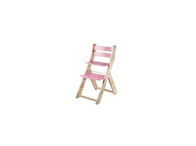 Rostoucí židle SANDY -M01 natur/růžová s ergonomickým sedákem
