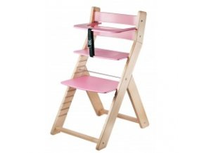 Rostoucí židle Luca -L01 natur lak/růžová s ergonomickým sedákem