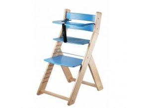 Rostoucí židle Luca -L03 natur lak/modrá s ergonomickým sedákem