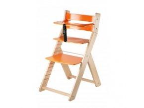 Rostoucí židle Luca -L05 natur lak/oranžová s ergonomickým sedákem