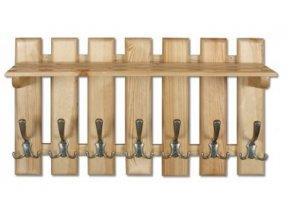 Dřevěná věšáková stěna s policí MASIV 108 z borovice