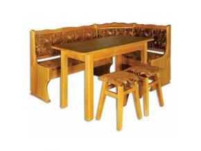 Dřevěný jídelní set s rohovou lavicí a polstrováním MASIV BM112